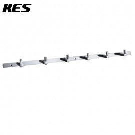 KES Bathroom Solid Brass Hook Rail/Rack with 6 Hooks Wall Mount Polished Chrome, A1060H6