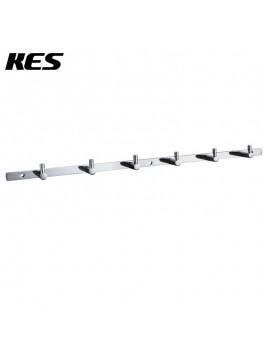 KES Bathroom Solid Brass Hook Rail/Rack with 6 Hooks Wall Mount Polished Chrome, A1060H6