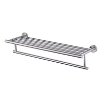 KES 24-Inch Large Towel Rack with Shelf Stainless Steel Single Towel Bar Dual Hanger Storage Organizer Modern Style Wall Mount Brushed Finish, A2010S60-2