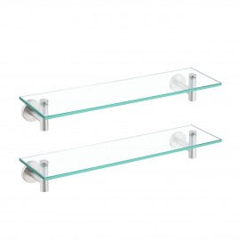 Bathroom Glass Shelf Rectangular 20-Inch Floating Glass Shelves 2 Pack with Rustproof Stainless Steel Brackets Wall Mounted Brushed Finish, A2021-2-P2