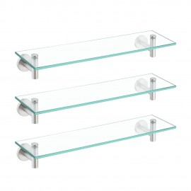 Bathroom 20 Inches Glass Shelf Rectangular 3 Packs, Wall Mounted, Brushed Finish A2021-2-P3