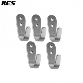 KES Brushed Stainless Steel Coat and Hat Single Hook Heavy Duty Wall Mount, 5-Pcs Value Pack ,A2062-P5