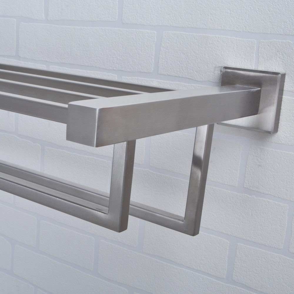 KES 24-Inch Towel Rack with Shelf Stainless Steel Double Towel Bar ...
