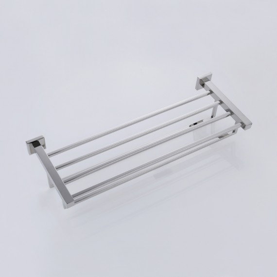 KES 24-Inch Towel Rack with Shelf Stainless Steel Double Towel Bar Dual Hanger Storage Organizer Modern Square Style Wall Mount, A21012S60/-2