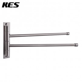 KES Bathroom Swing Arm Towel Bars 2-Arm Wall Mount Swing Out Towel Shelf, Brushed SUS304 Stainless Steel, A2102S2/A2102S2-2/A2102S2-BK