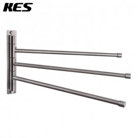KES Bathroom Swing Arm Towel Bars 3-Arm Wall Mount Swing Out Towel Shelf, Brushed SUS304 Stainless Steel,A2102S3/ A2102S3-2/A2102S3-BK