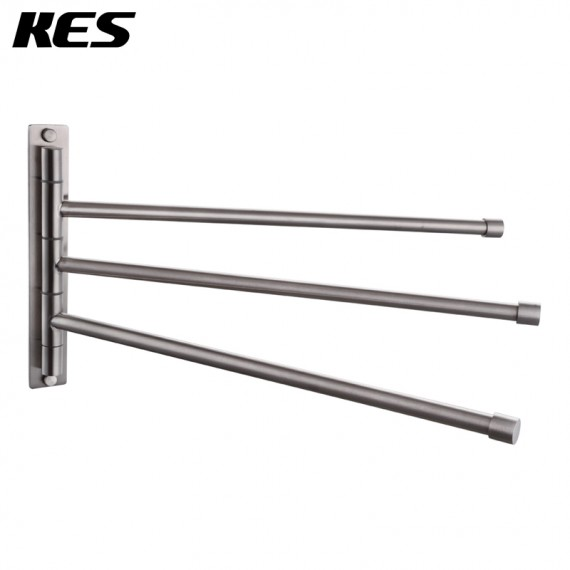 KES Bathroom Swing Arm Towel Bars 3-Arm Wall Mount Swing Out Towel Shelf, Brushed SUS304 Stainless Steel, A2102S3-2