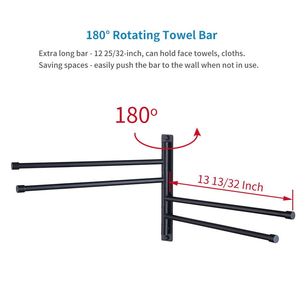 Kes Sus 304 Stainless Steel Swing Out Towel Bar 4 Folding Arm Swivel Hanger Bathroom