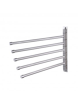 KES SUS 304 Stainless Steel Swing Out Towel Bar 5-Bar Folding Arm Swivel Hanger Bathroom Storage Organizer Rustproof Wall Mount, Brushed Finish, A2102S5/A2102S5-2/A2102S5-BK
