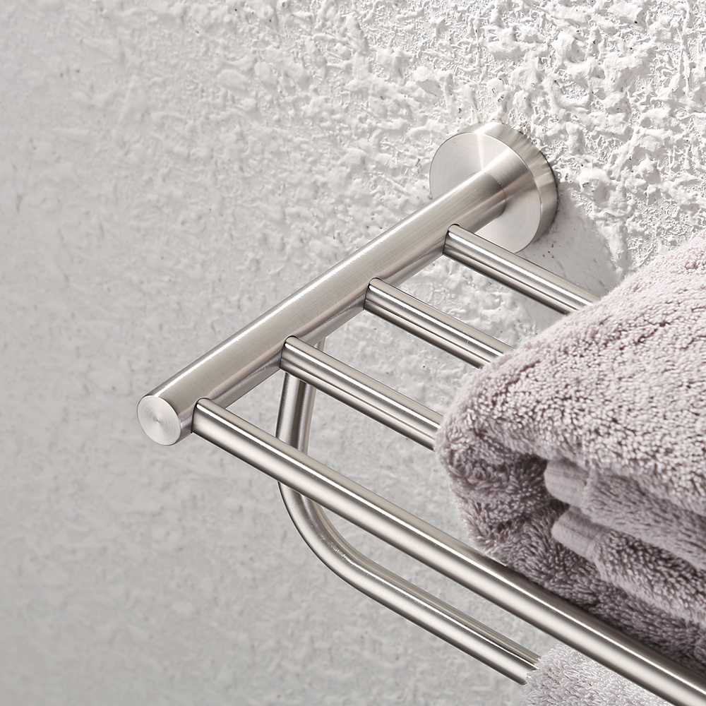 Kes stainless steel bath towel rack bathroom shelf with double towel - Kes Bathroom Double Towel Rack And Shelf 23 Inch Wall Mounted Brushed Finish Sus304 Stainless Steel A2110 2