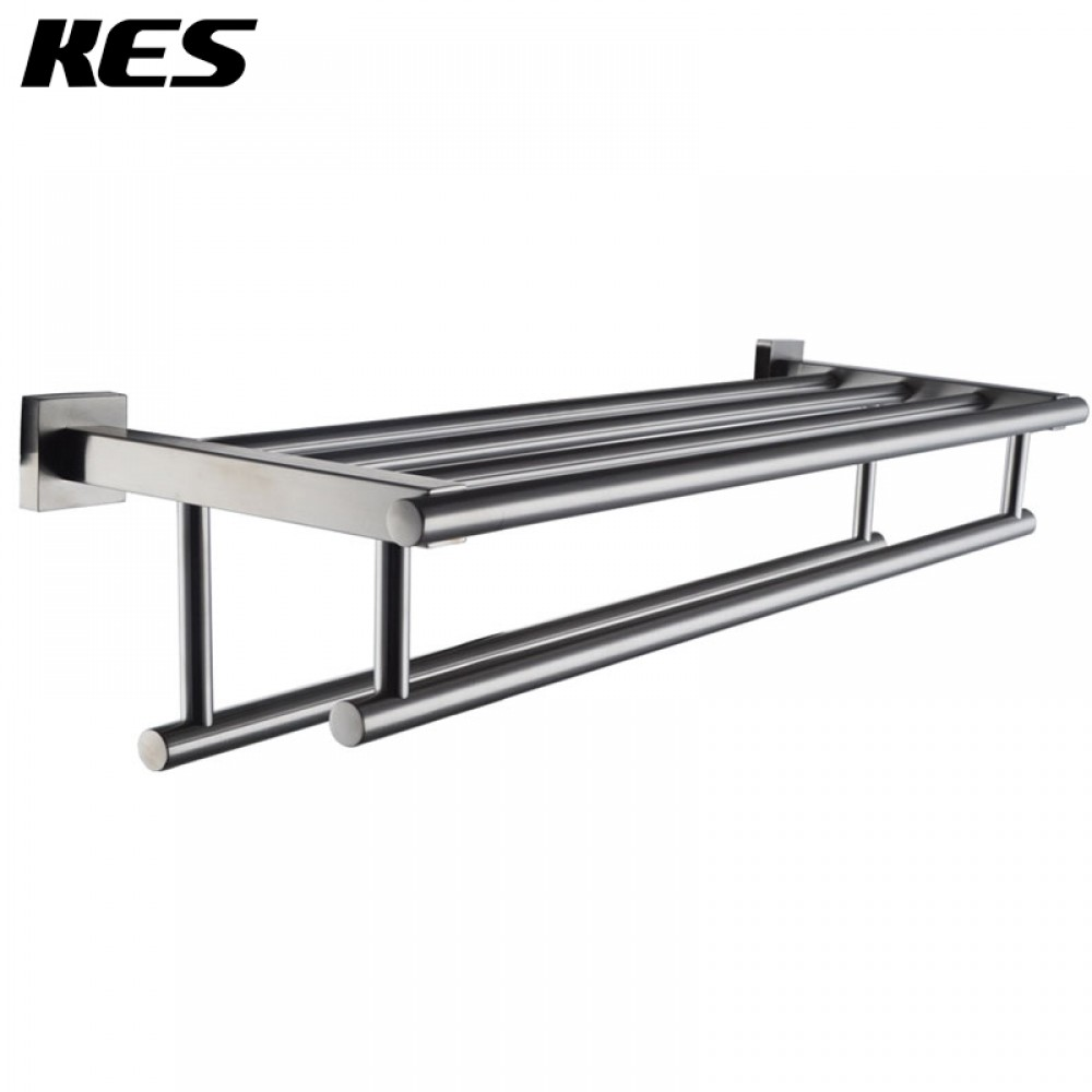 Stainless Steel Bath Towel Rack Bathroom Shelf with Double Towel ...