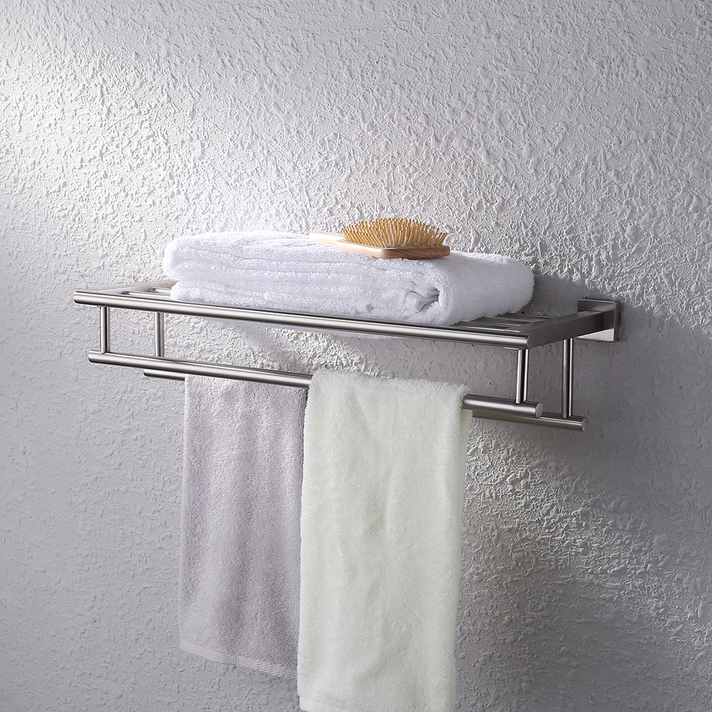 Bath towel holder Next Kes Stainless Steel Bath Towel Rack Bathroom Shelf With Double Towel Bar 60 Cm Storage Organizer Kes Home Kes Stainless Steel Bath Towel Rack Bathroom Shelf With Double Towel