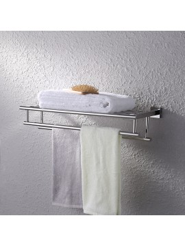 KES Stainless Steel Bath Towel Rack Bathroom Shelf with Double Towel Bar 60 CM Storage Organizer Contemporary Hotel Square Style Wall Mount, Polished/Brushed Finish, A2112S60/A2112S60-2