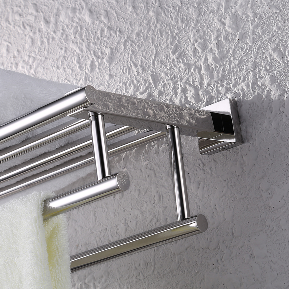 KES Stainless Steel Bath Towel Rack Bathroom Shelf with Double Towel ...
