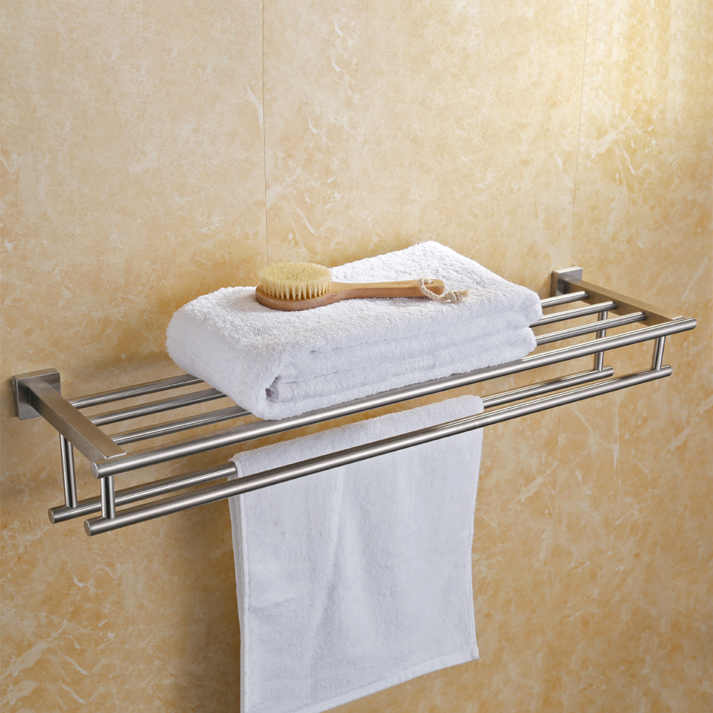 KES Large Towel Rack, Towel Shelf with Two Bar (30 Inch Stainless ...