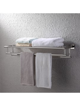 KES Large Towel Rack, Towel Shelf with Two Bar (30 Inch Stainless Steel) Shower Organizer Modern Square Style Wall Mount  Polished/Brushed Finish, A2112S75/A2112S75-2