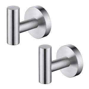 Bathroom Wall Towel Hooks No Drill 2 Packs, Steel Brushed A2164DG-2-P2