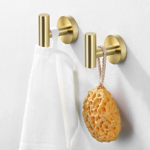 Bath Towel Hook Robe Hook for Bathroom Kitchen No Drill Wall Mount SUS 304 Stainless Steel Brushed Brass 2 Pack, A2164DG-BZ-P2