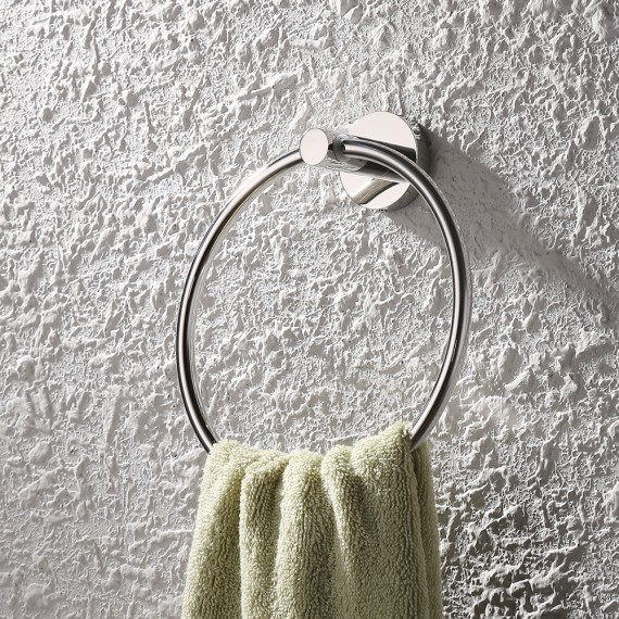 KES Bathroom Lavatory Towel Ring Wall Mount, Polished/Brushed Stainless Steel A2180/A2180-2