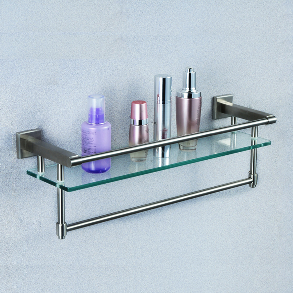 Bathroom Glass Shelf With Towel Bar