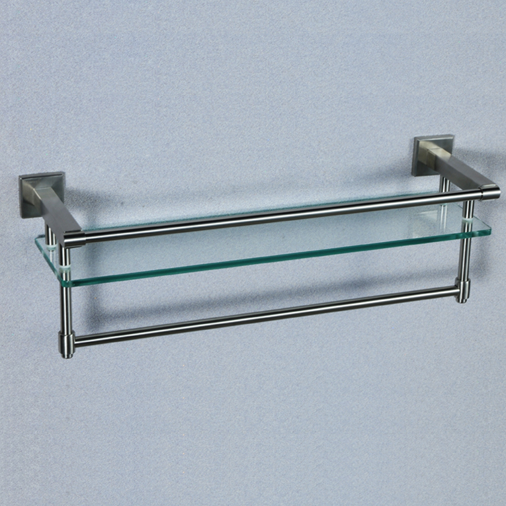 Kes A2225 2 Sus304 Stainless Steel Bathroom Glass Shelf Wall Mount With Towel Bar And Rail