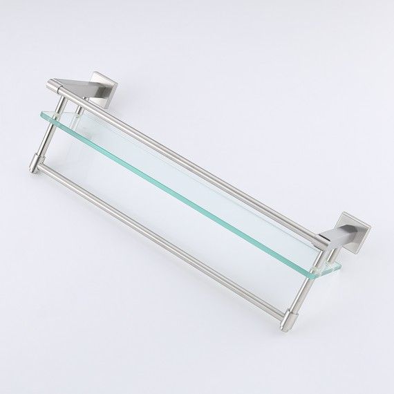 KES A2225-2 SUS304 Stainless Steel Bathroom Glass Shelf Wall Mount with Towel Bar and Rail, Brushed Finish