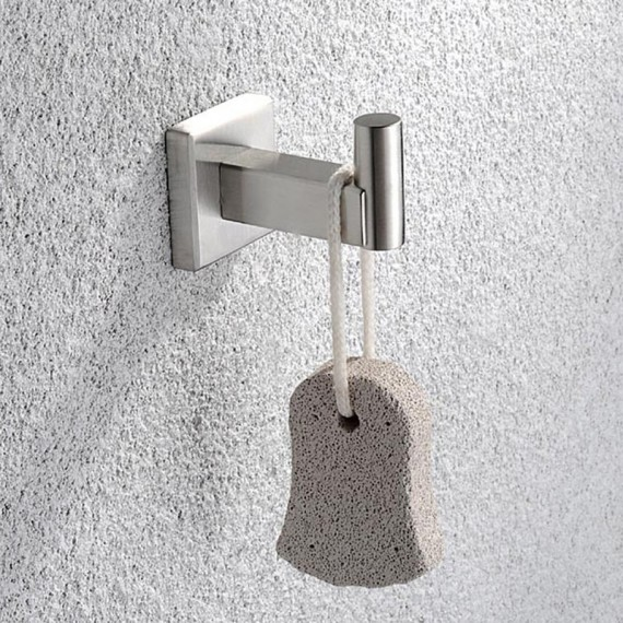 KES SUS 304 Stainless Steel Coat Hook Single Towel/Robe Clothes Hook for Bath Kitchen Garage Heavy Duty Contemporary Square Style Wall Mounted, Polished/Brushed Finish, A2260