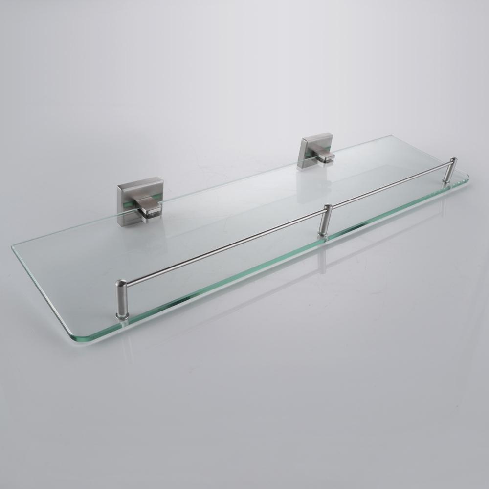 Kes bathroom glass shelf 1 tier shower caddy bath basket stainless steel rustproof wall mount for Stainless steel bathroom shower shelves
