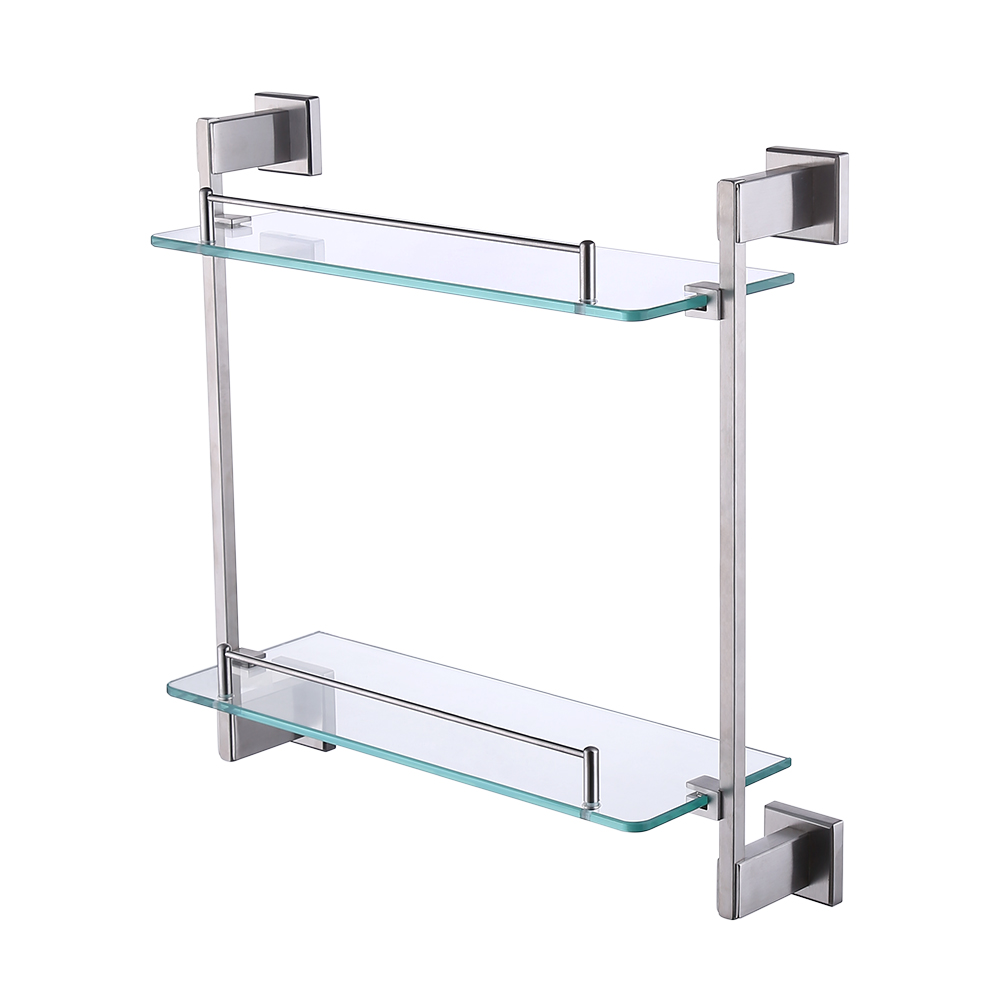 Kes Bathroom Glass Shelf 2 Tier Shower Caddy Bath Basket Stainless Steel Rustproof Wall Mount