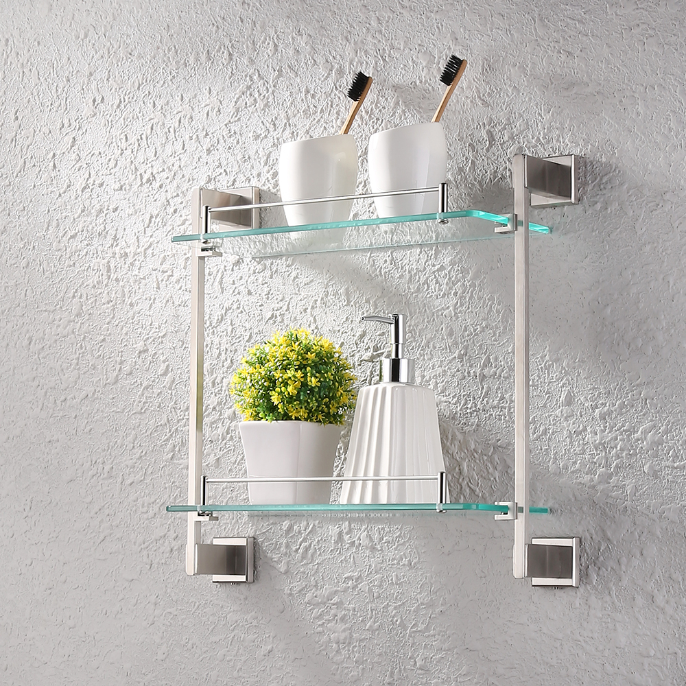 kes bathroom glass shelf 2 tier shower caddy bath basket stainless steel rustproof wall mount brushed - Bathroom Glass Shelves