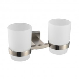 KES A2451-2 Bathroom Lavatory Double Glass Tumbler with Holder Wall Mount, Brushed Stainless Steel
