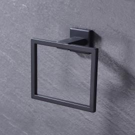 Bathroom Towel Ring Hanger Wall Mount No Drill, Matte Black WMTR001BK
