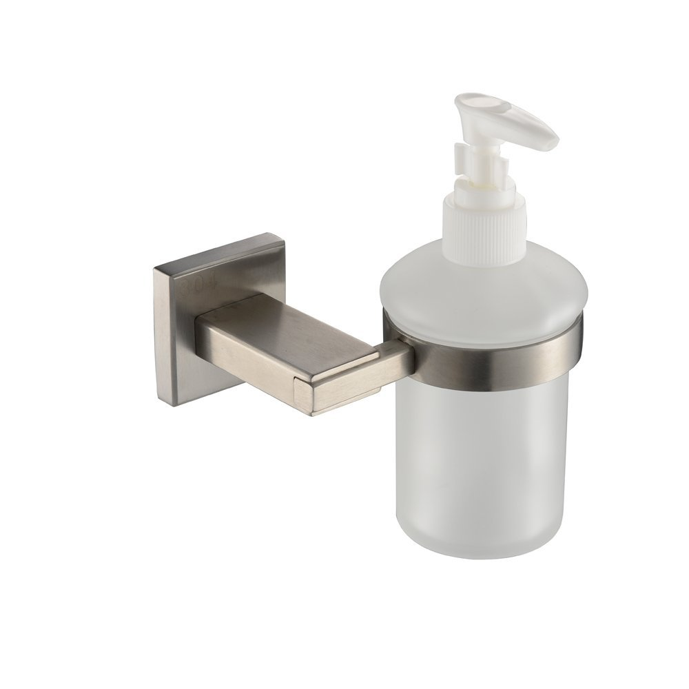 KES Bathroom Lavatory Soap Lotion Dispenser Pump Wall Mount with SUS304 Stainless Steel Post, Brushed Finish, ...