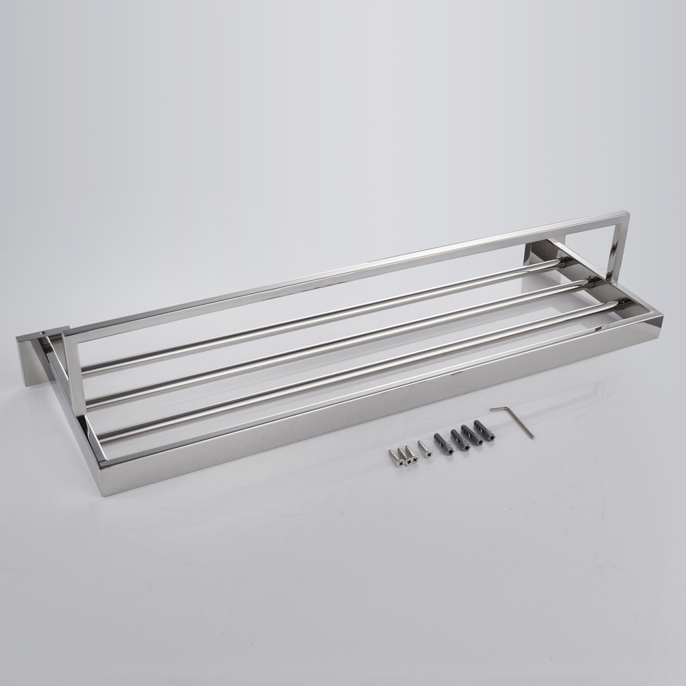 Kes A2510 Bathroom Lavatory Double Bathroom Shelf Towel Rack Wall Mount Polished Stainless Steel