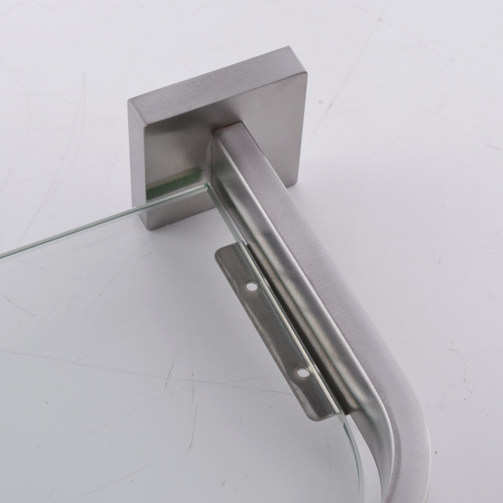 Kes Lavatory Tempered Glass Shelf Wall Mount Polished Stainless Steel Holder A2620