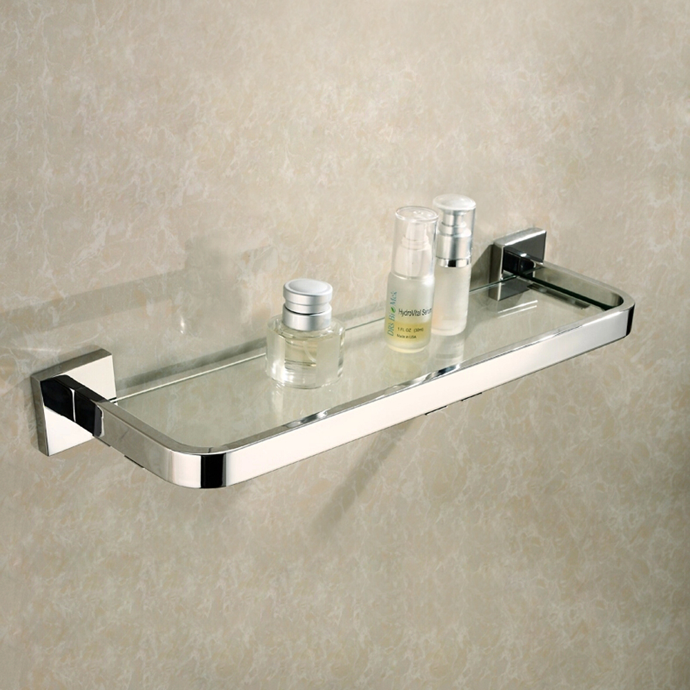 Kes Lavatory Tempered Glass Shelf Wall Mount Polished Stainless Steel