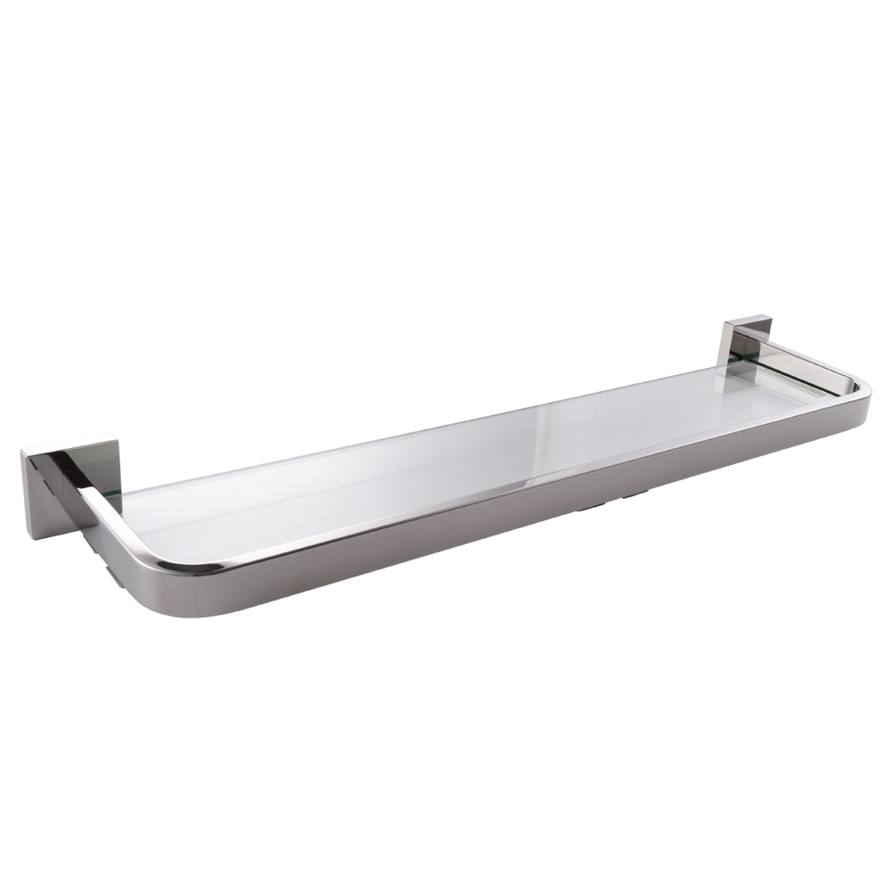 Kes Lavatory Tempered Glass Shelf Wall Mount Polished Stainless