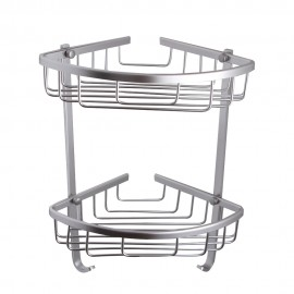 KES A4021B Aluminum Bathroom 2-Tier Corner Shelf Basket Wall Mounted, Silver Sand Sprayed