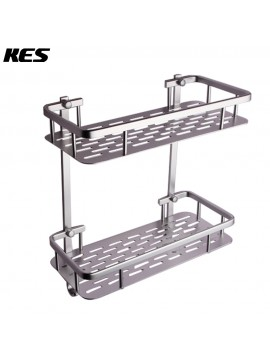 KES Bathroom Aluminum Storage Shelf Basket with Hooks Wall Mounted Double Deck, Silver Sand-Sprayed, A4028B