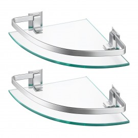 Bathroom Corner Glass Shelfr with Extra Thick TEMPERED Glass, Wall Mount, 2 Tiers, Aluminum A4120A-P2