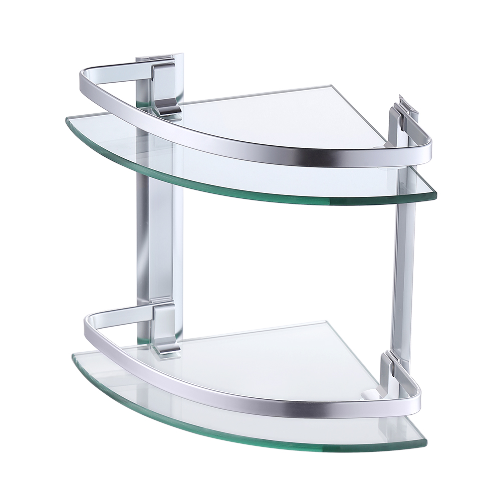Kes glass corner shelf bathroom shelf 2 tier with - Bathroom glass corner shelves shower ...