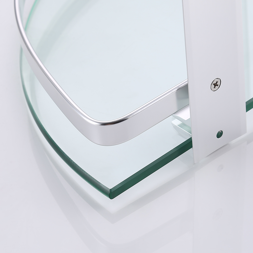 Kes Glass Corner Shelf Bathroom Shelf 2 Tier With Aluminum Rail Shower Organizer Basket Wall
