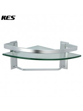 KES Aluminum Bathroom Glass Corner Shelf with Towel Bar Wall Mount Extra Thick Tempered Glass, Silver Sand Sprayed, A4123A