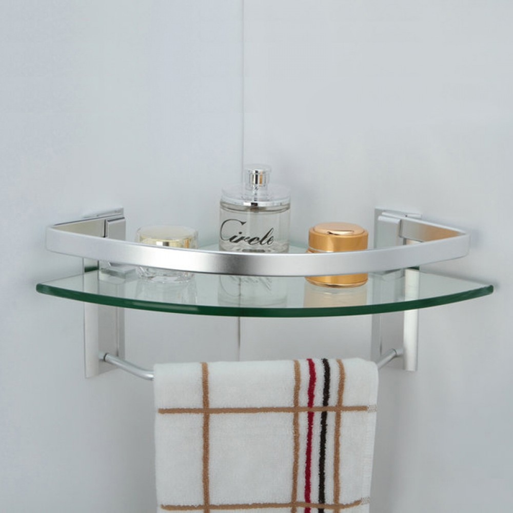 Kes aluminum bathroom glass corner shelf with towel bar - Bathroom glass corner shelves shower ...