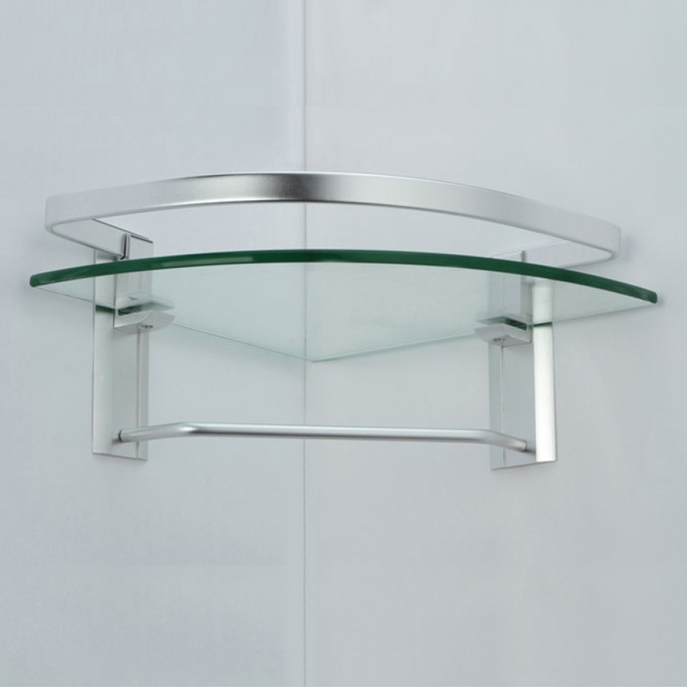 KES Aluminum Bathroom Glass Corner Shelf with Towel Bar Wall Mount ...