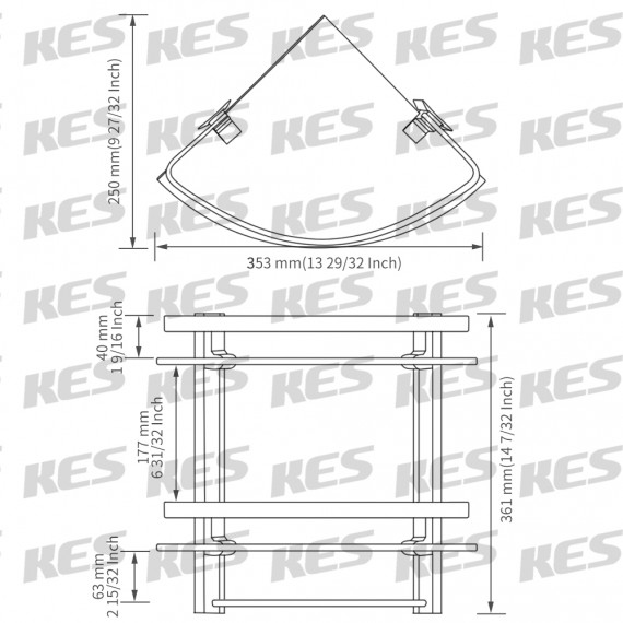 KES Bathroom 2-Tier Corner Glass Shelf with Wide Rail and Towel Bar Hanger Aluminum Frame and 8 MM Extra Thick Tempered Glass Shower Shelving Caddy Triangular Contemporary Style Wall Mount, A4123B