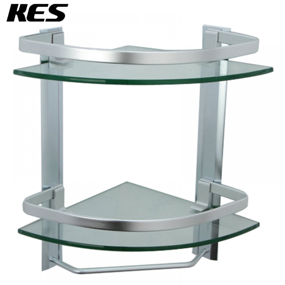 Kes bathroom 2 tier corner glass shelf with wide rail and - Bathroom glass corner shelves shower ...