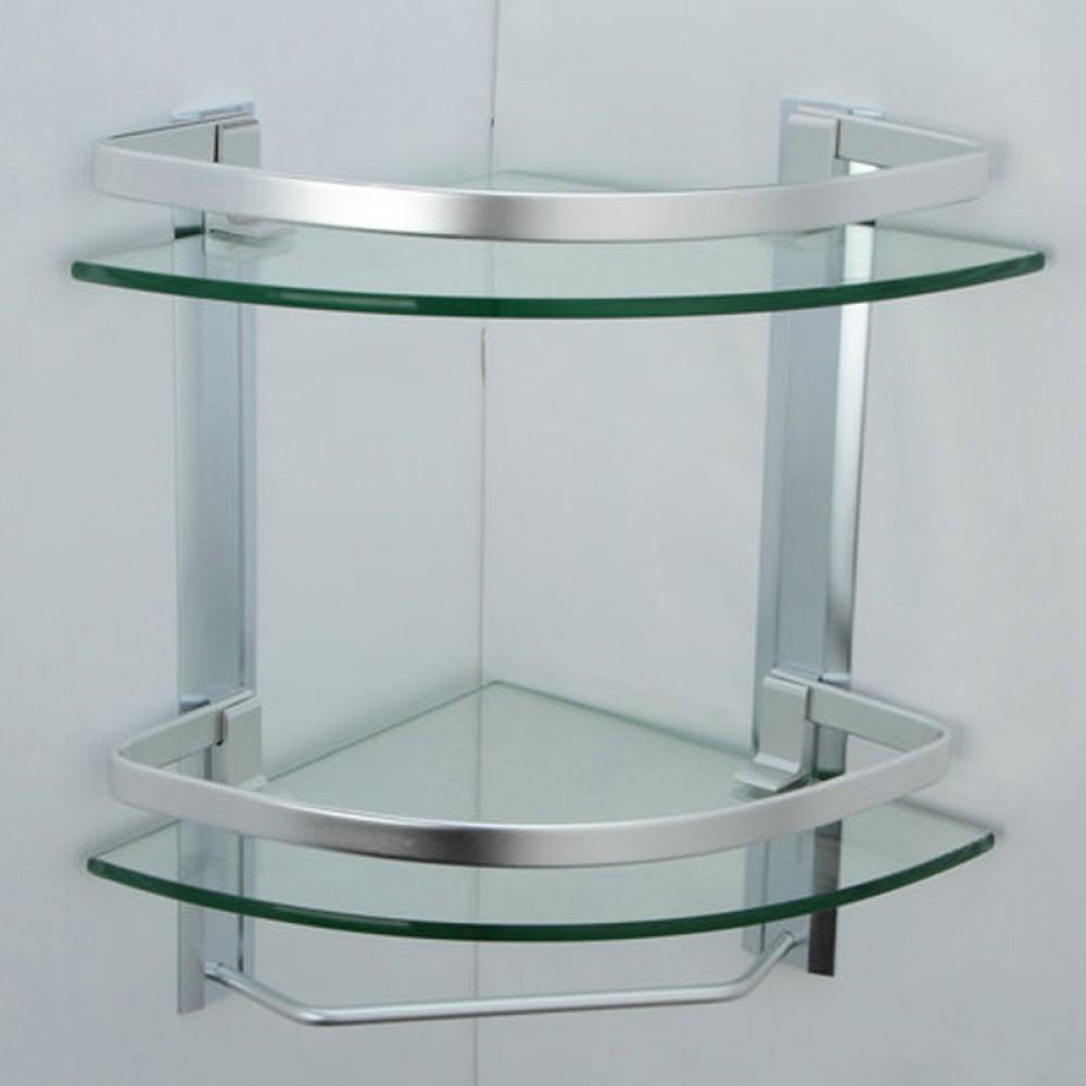 Tempered Glass Corner Shower Shelf - Glass Designs
