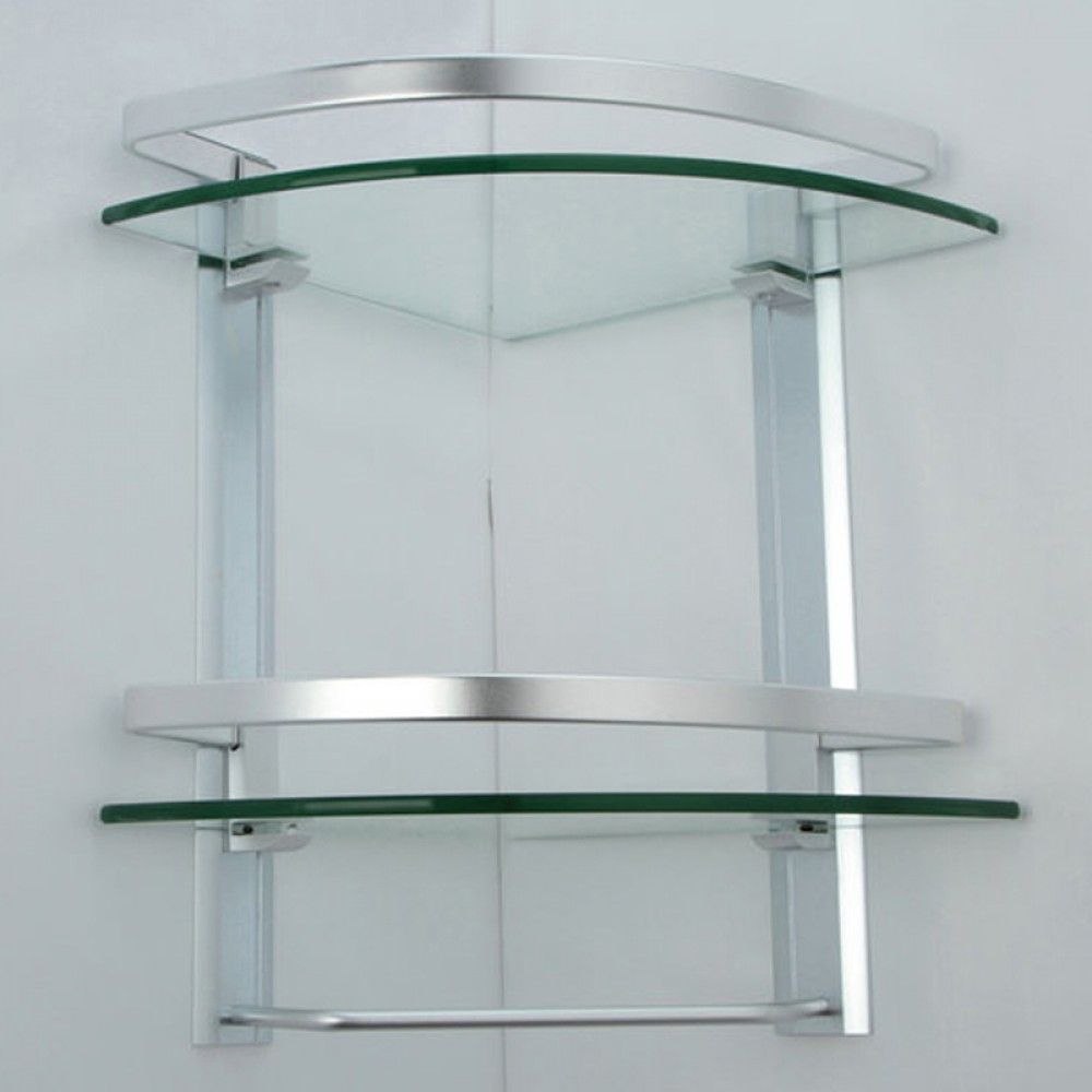 Kes bathroom 2 tier corner glass shelf with wide rail and for Bathroom glass shelves