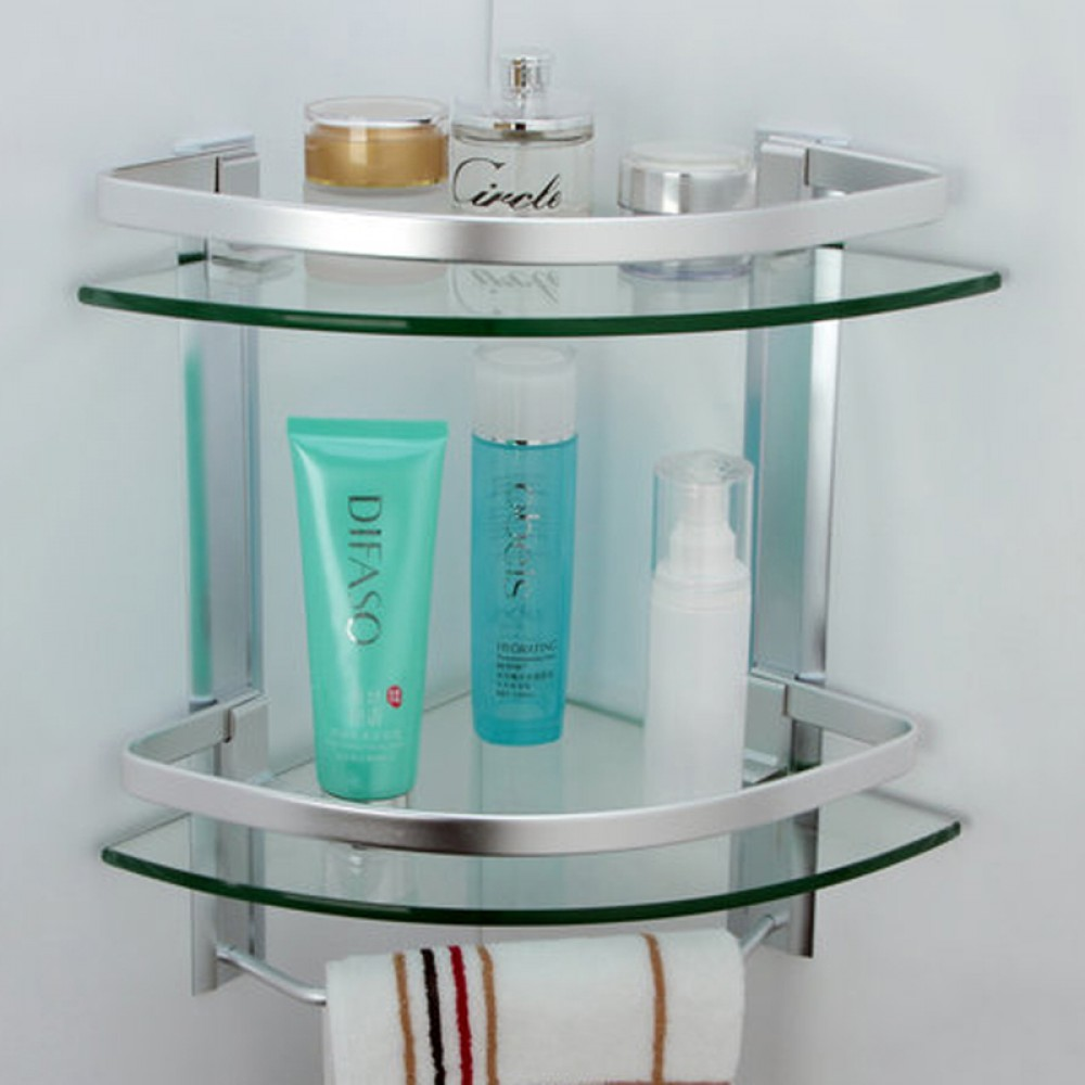 Kes Bathroom 2 Tier Corner Gl Shelf With Wide Rail And Towel Bar Hanger Aluminum Frame